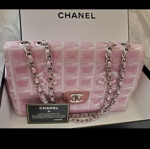 CHANEL Classic Flap pink Jacquard Travel Line bag